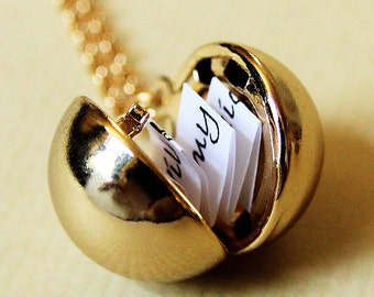 Shiny Gold Secret Message Locket -  Gold Ball Locket Necklace - Mothers Day gift for her