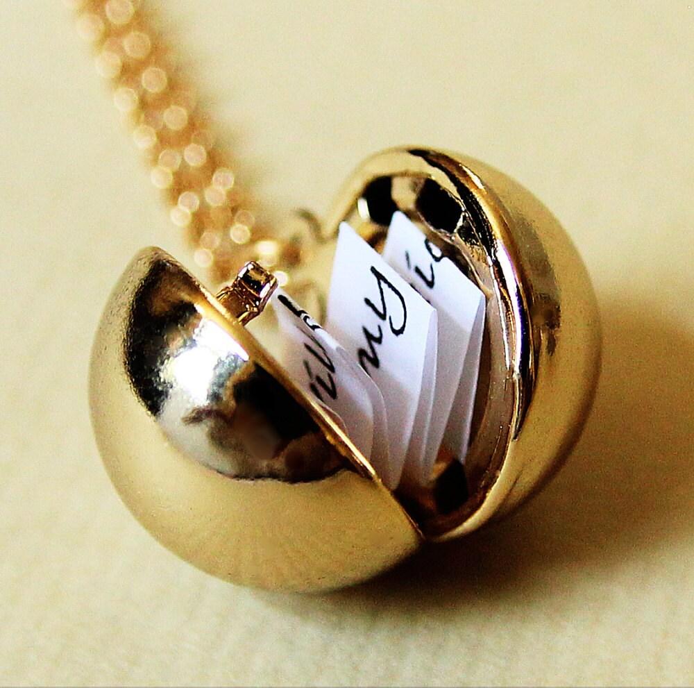 Shiny Gold Secret Message Locket Gold Ball Locket Necklace