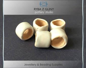 Ceramic White Beads, 15 mm x H 12 mm, Clay Beads, Barrel Beads, Jewelry Beads, White Beads, Pottery Beads, Nautical Beads