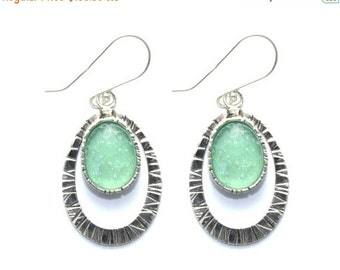 Bluish  Roman Glass 925 Sterling Silver  Earrings