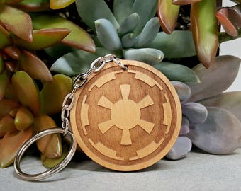 Key Chain - Star Wars Galactic Republic- Wood Keychain - Laser Engraved - Darth Vader Keychain