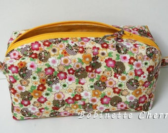 Kit with multicolored flowers (shades of yellow) spirit Japanese lined and quilted.
