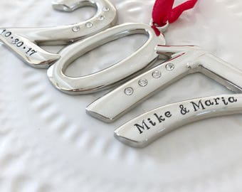 Christmas Ornament personalized names Key 2017 numbers