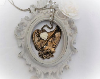 Art Nouveau brass woman pendant necklace