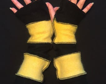 Upcycled Queen Bee Yellow and Black Cashmere Angora Wool Long Fingerless Gloves Arm Warmers Armwarmers Recycled Sweater Wristwarmers Repurpo