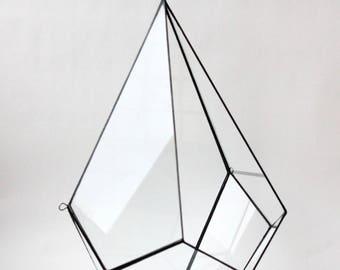 Wand Blumentopf. Tropfenförmige Übertopf. Glasmalerei Übertopf. Geometrische Terrarium Behälter. Glasterrarium. Luft-Anlage. Geometrische Wohnkultur