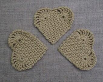 set of 3 beige hearts crochet height 4.5 cm