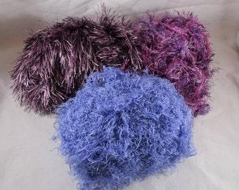 Lot 3 Partial Skeins Fun Yarn Eyelash Purple Lavender Pink FREE SHIPPING USA