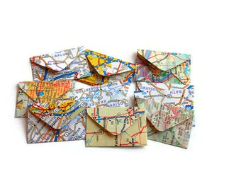 Vintage Paper Atlas Miniature Envelopes, Teeny Tiny Envelopes, Mini Envelopes, Vintage Paper, Travel