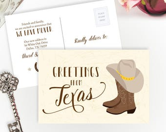 Greetings from Texas moving announcement cards PRINTED | Change of address postcards | We've moved to Texas cards