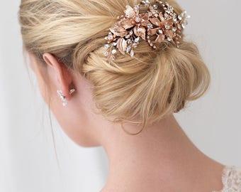 Rose Gold Bridal Hair Clip, Rose Gold Wedding Hair Clip, Floral Hair Clip, Bridal Hair Comb, Rose Gold Headpiece, Gold Hair Clip ~TC-2288