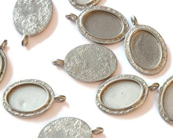 Piece of pewter Oval Pendant textured for making jewelry LoB-57 (10 pieces)