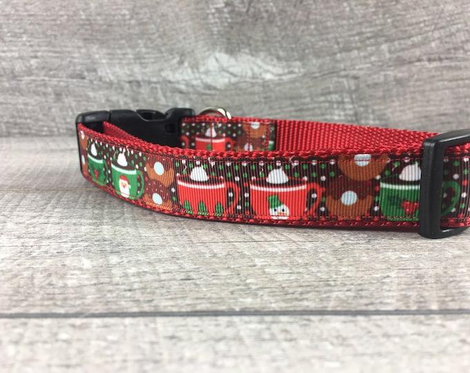 "The Warm Cocoa | Designer 1"" Width Dog Collar | CupcakePups Collars | Medium/Large Dog Collar | Christmas"