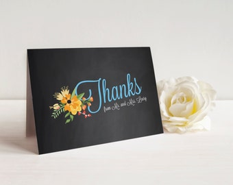 Wedding Thank You Card, Chalkboard Thank You Card, Folded Thank You Card, Printable Thank You, Printed Thank You Cards, Rustic, Chalked