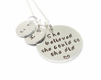 SHE BELIEVED SHE Could So She Did Necklace | Engraved Pendant Necklace | Graduation Gift | Inspirational Quote Necklace | Faith Necklace