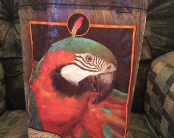 Caribbean blend parrot food upcyed feed bag macaw