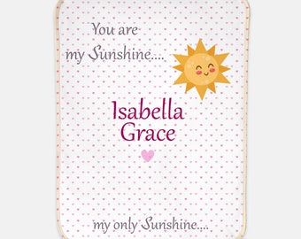 You Are My Sunshine Sherpa Blanket, Personalized You Are My Sunshine Baby Girl Blanket, Baby Girl Sherpa With Name