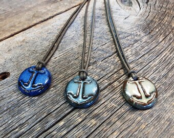 Ceramic pendant – Anchor pottery necklace, Nautical pendant, Pottery jewel, Ceramic jewelry