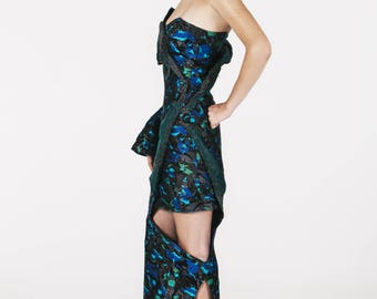 Blue jacquard deconstructed dress