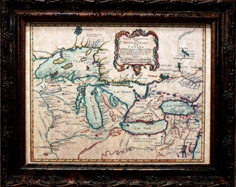 Great Lakes Map Print of a 1755 Map on Parchment Paper