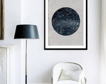 ON SALE Vintage Inspired Astronomy Print Poster, Constellations, Illustration,  Astrology, Stars Map,  Zodiac, Space