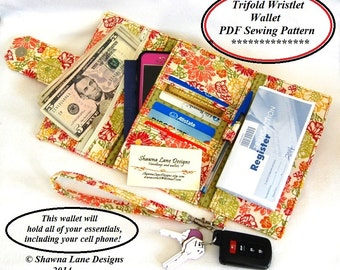 women's wallet sewing pattern, cell phone wallet accessory, digital wallet pattern, wallet tutorial, purse pattern, gifts to make