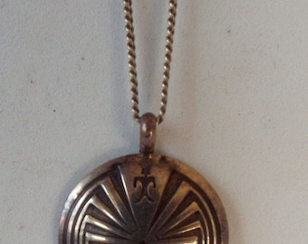 "Vintage Southwest Native Tribal Sterling Silver 925 Man in the Maze Pendant 16"" Chain Necklace Hallmark 'B'"