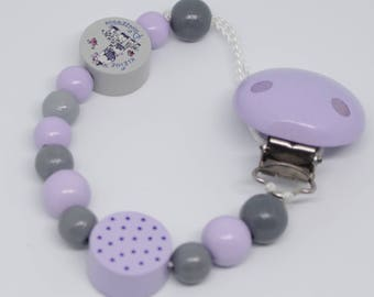 Pacifier in lilac, grey with little princess