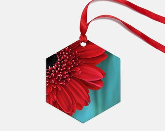 Holiday Ornament, Christmas Decor, Red & Teal Flower Ornament, Christmas Decor, Floral Ornament, Hostess Gift, Holiday Decor, Metal Ornament