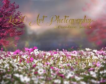 Spring digital background/ digital backdrop/mothers day
