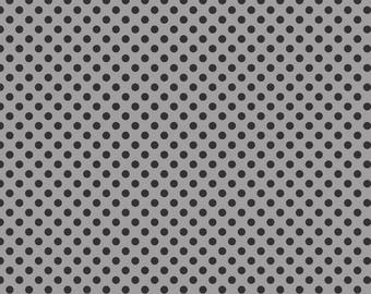 Black Dots on Gray, Small Dot Fabric from Riley Blake
