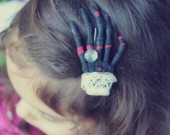Dia De Los Muertos Skeleton Hand Hair Clip