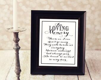 In Loving Memory, Those we Love don't go away. 4 X 6, 5 X 7 & 8 X 10 in. Instant Download. In Loving Memory DIY Printable File