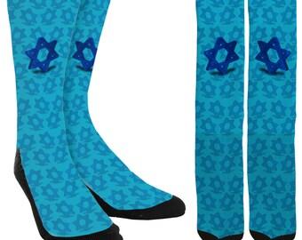 Hanukkah Crew Socks - Hanukkah Socks - Menorah Socks - Chanukah Socks - Chanukah Gifts - Novelty Socks - 100% Comfort - FREE Shipping D83