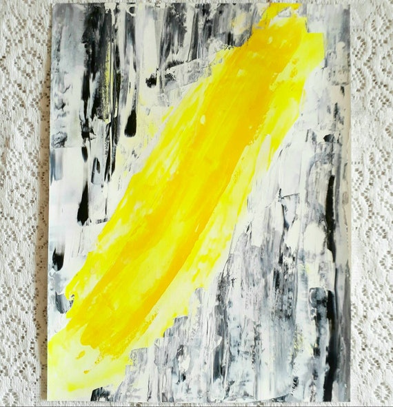 Electro 1 Original Abstract Painting NEON yellow lightning