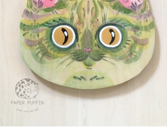 "Cat Face #11 ""Super Green"" Original Painted Wood Cat by K.Carlson PaperPuffin"