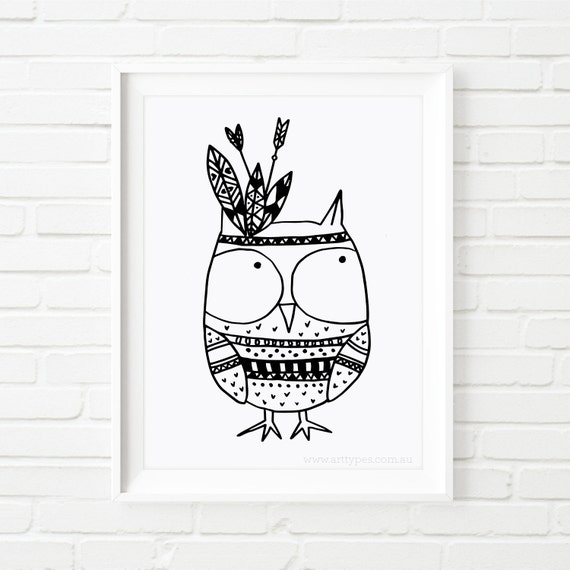 Digital printable owl indian black and white art kids