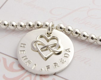 Silver bracelet with engraving, FAMILY BRACELET, NAME BRACELET