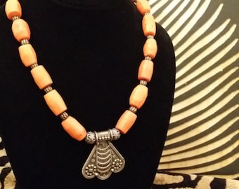 Orange Coral and Sterling Silver Bead Necklace with Unique Sterling Silver Pendant