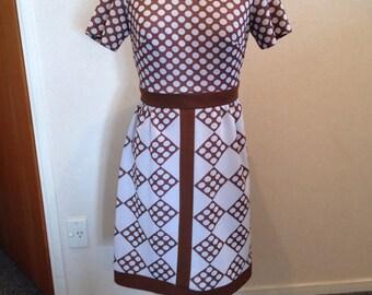 Striking 1960's Geometric Crimplene polyester mini dress Made in New Zealand