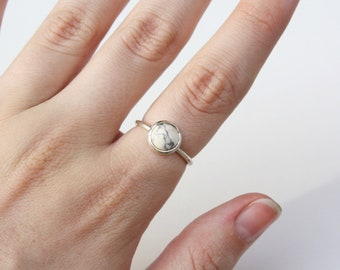 Marble Howlite Solitaire Ring in sterling silver or 14k gold - yellow gold - rose gold - white gold - stackable ring