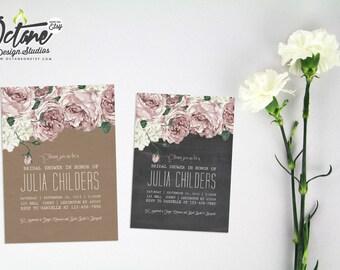 Vintage Floral Bridal Shower Invitation-- 5x7 on Kraft or Chalkboard Paper #104