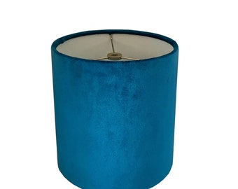 Sale-Teal Velvet Drum Lampshade-Velvet  Lamp Shade- Lampshade-Custom Made-To-Order-Home Decor-Table Lamp-Ready To Ship