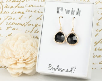 Black Gold Drop Earrings, Gold Black Earrings, Black Wedding Jewelry, Bridesmaid Gift, Bridesmaid Earrings, Bridal Accessories