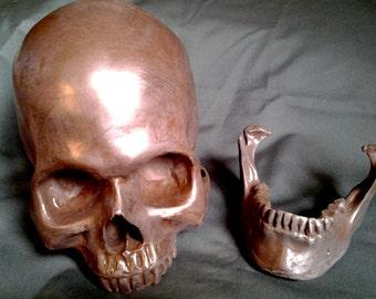 LIFE SIZE Copper Cold Cast Human Skull