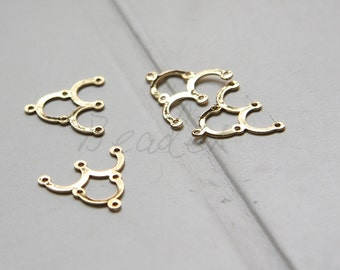 2 Pieces / Real Gold Plated / Earring Component / Brass Base / 1 to 3 Components 17x15mm (C1736//J392)