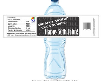50th Birthday Labels, Water Bottle Labels, Over the Hill Birthday, Birthday Water, 50th Birthday, 40th Birthday (Set of 24)(Y543)