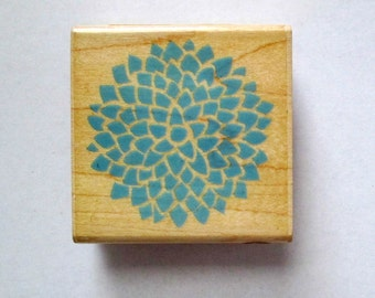 Flower Mounted Rubber Stamp, Blue Flower Stamp, Rubber Stamp, Inkadinkado