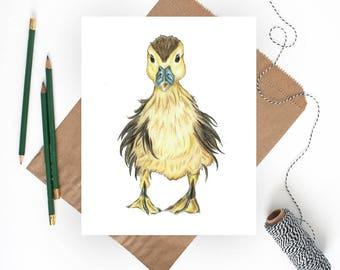 Baby Duck Art, Duckling Print, Duckling Nursery, Duck Nursery Art, Yellow Nursery Art, Baby Duck Print, Baby Animal Nursery Art, Duck Art