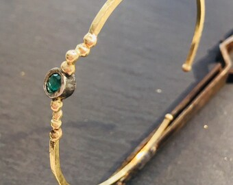Gold bracelet with tourmaline, bicolor